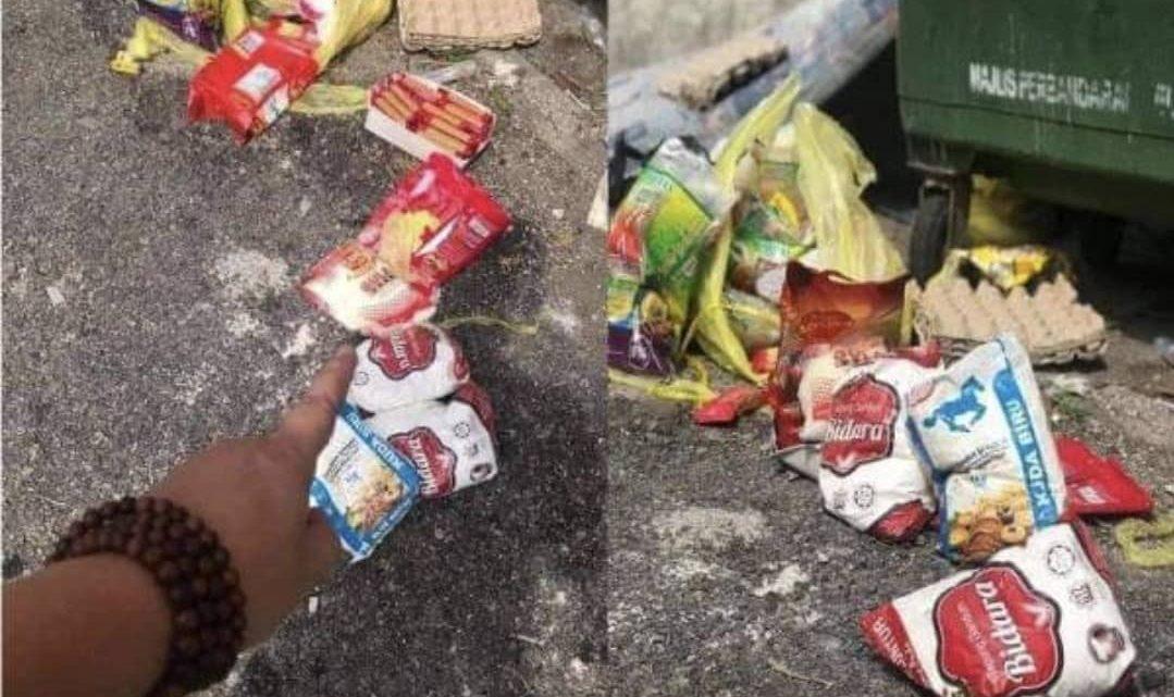 Sumbangan bakul makanan 'dihumban' ke tong sampah