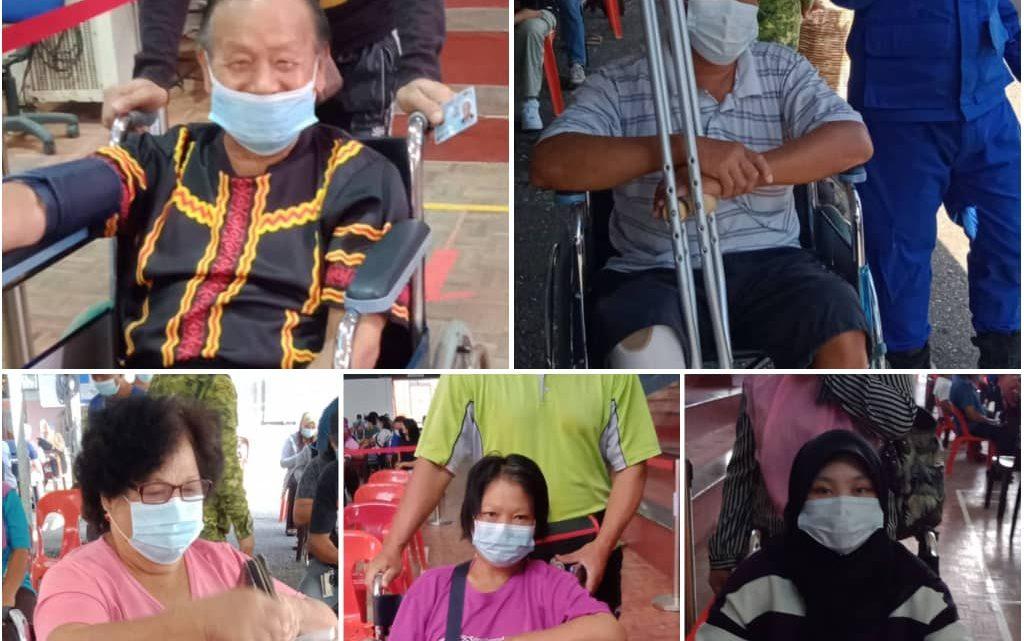 5 orang berkerusi roda antara 874 penerima  Vaksin di Dewan Masyarakat Ranau