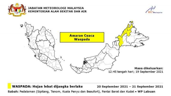 Ramalan hujan lebat di Sabah, Labuan dijangka sehingga 21 Sept